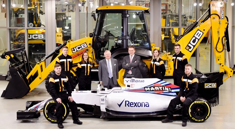 Pictured is JCB Chairman Lord Bamford (centre left) and JCB CEO Graeme Macdonald pictured with JCB apprentices (l-r) Kyle Hare , Charlie Trotter, Jade Holmes, Chelsea Saunders,James Mohan and Daniel Malbon at the announcement of the new partnership agreement between JCB and Williams Martini Racing.Dtae. 22.02.17