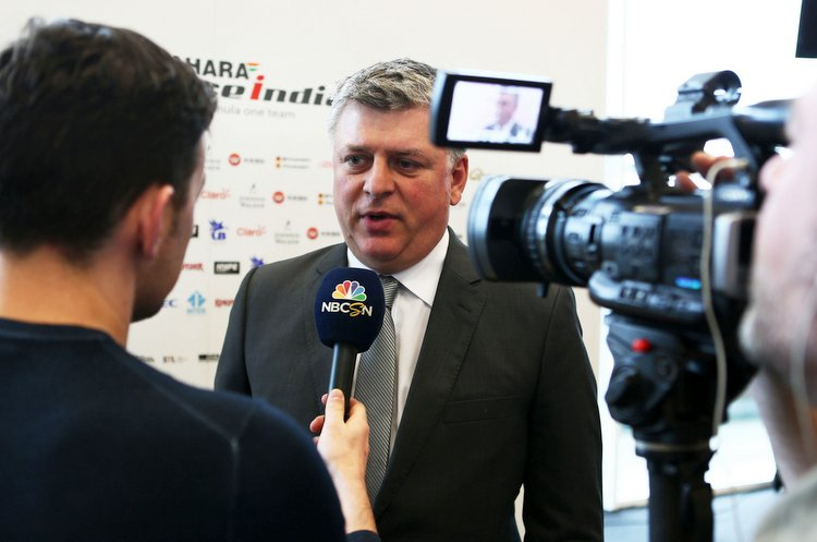 Otmar Szafnauer (USA) Sahara Force India F1 Chief Operating Officer with the media.Sahara Force India F1 VJM10 Launch, Wednesday 22nd February 2017. Silverstone, England.