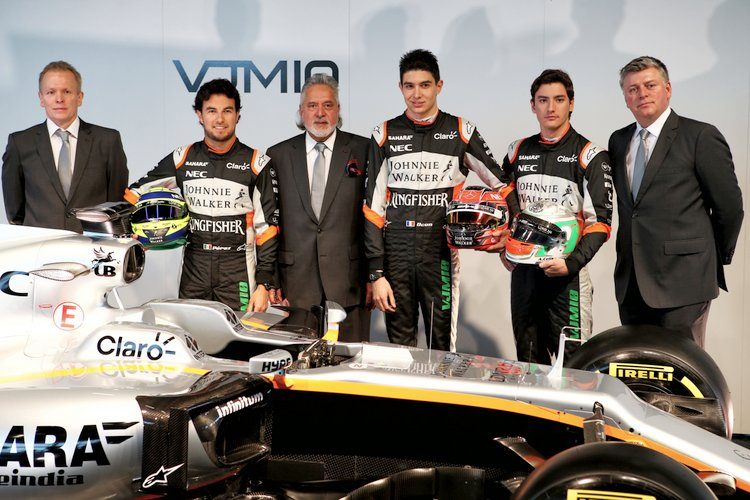 (L to R): Andrew Green (GBR) Sahara Force India F1 Team Technical Director; Sergio Perez (MEX) Sahara Force India F1; Dr. Vijay Mallya (IND) Sahara Force India F1 Team Owner; Esteban Ocon (FRA) Sahara Force India F1 Team; Alfonso Celis Jr (MEX) Sahara Force India F1 Development Driver; Otmar Szafnauer (USA) Sahara Force India F1 Chief Operating Officer, with the Sahara Force India F1 VJM10.Sahara Force India F1 VJM10 Launch, Wednesday 22nd February 2017. Silverstone, England.