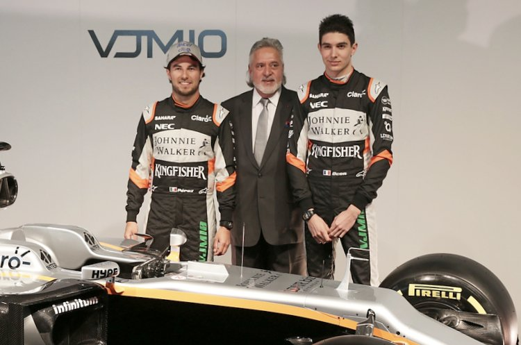 (L to R): Sergio Perez (MEX) Sahara Force India F1 with Dr. Vijay Mallya (IND) Sahara Force India F1 Team Owner and Esteban Ocon (FRA) Sahara Force India F1 Team with the Sahara Force India F1 VJM10.Sahara Force India F1 VJM10 Launch, Wednesday 22nd February 2017. Silverstone, England.