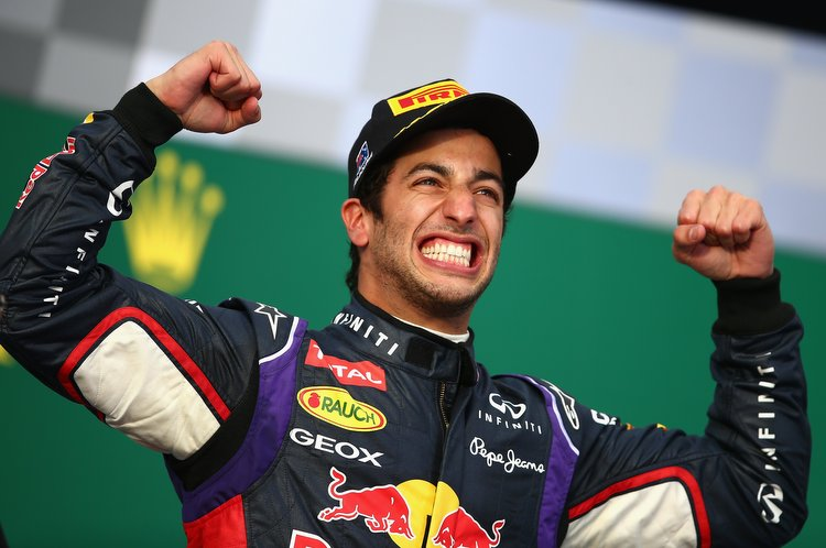 MELBOURNE, AUSTRALIA - MARCH 16: Daniel Ricciardo of Australia and Infiniti Red Bull Racing celebrates on the podium after finishing second during the Australian Formula One Grand Prix at Albert Park on March 16, 2014 in Melbourne, Australia. (Photo by Clive Mason/Getty Images) *** Local Caption *** Daniel Ricciardo