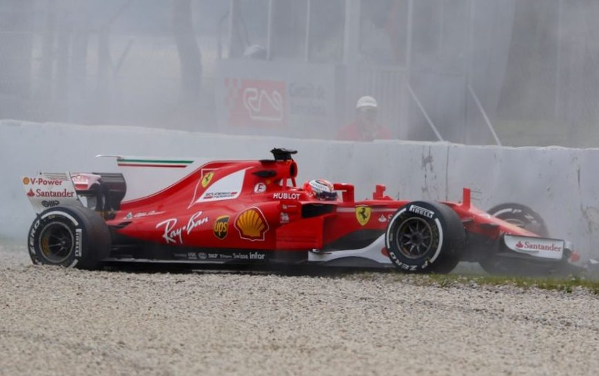 Kimi Raikkonen crash Barcelona Test
