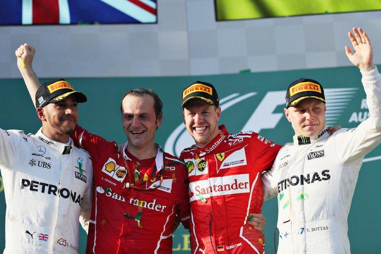 Sebastian Vettel, second placed Lewis Hamilton and third placed Valtteri Bottas.
