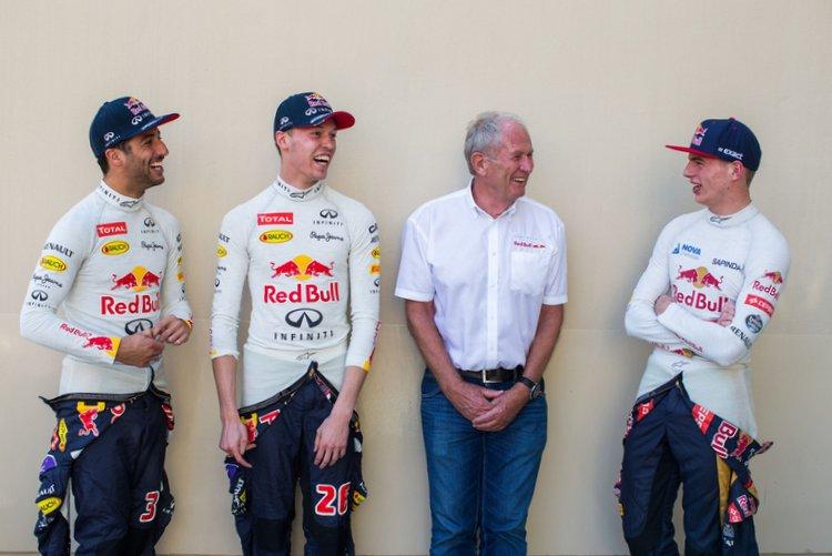 Daniel Ricciardo, Daniil Kvyat, Helmut Marko, Max Verstappen