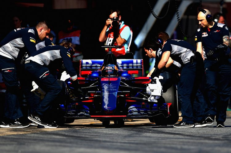MONTMELO, SPAIN - FEBRUARY 27: Carlos Sainz of Spain driving the (55) Scuderia Toro Rosso STR12 in the Pitlane during day one of Formula One winter testing at Circuit de Catalunya on February 27, 2017 in Montmelo, Spain. (Photo by Dan Istitene/Getty Images) // Getty Images / Red Bull Content Pool // P-20170227-01693 // Usage for editorial use only // Please go to www.redbullcontentpool.com for further information. //