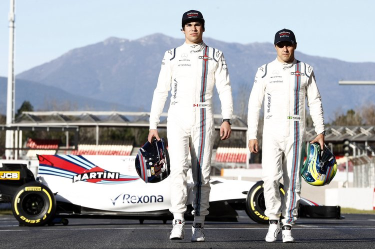 Williams Martini Racing Media Imagery. 2017 Formula 1 World Championship Preview. Lance Stroll and Felipe Massa pose with the Williams FW40 Mercedes at the Circuit de Catalunya, Barcelona, Spain. Copyright: Glenn Dunbar/Williams F1. Ref: _X4I3873