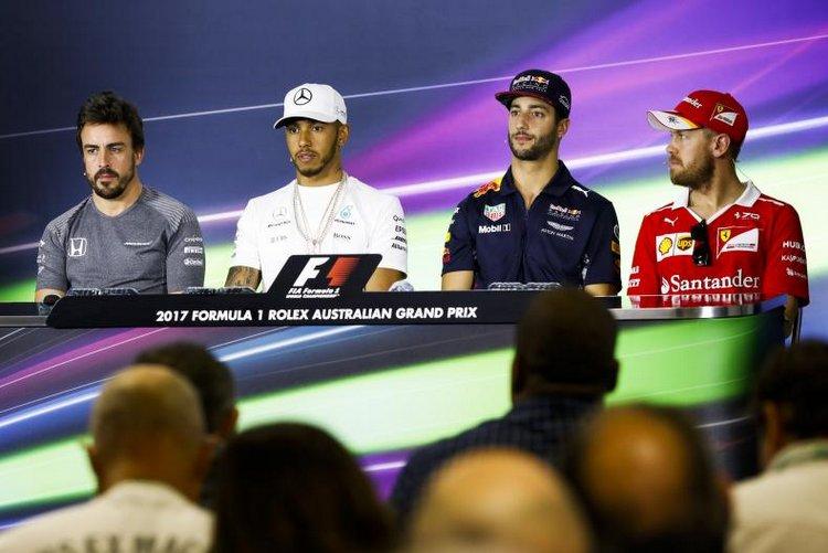 Lewis Hamilton (Mercedes), Sebastian Vettel (Ferrari), Daniel Ricciardo (Red Bull Racing) and Fernando Alomnso (McLaren)