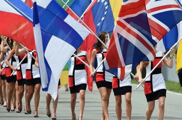 grid girls flags
