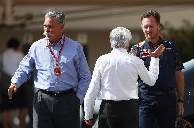 Christian Horner, Bernie Ecclestone, Chase Carey