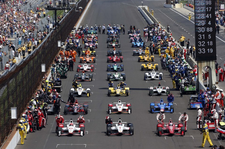 May 24, 2015; Indianapolis, IN, USA; IndyCar Series drivers on the grid before the start of the 2015 Indianapolis 500 at Indianapolis Motor Speedway. Mandatory Credit: Brian Spurlock-USA TODAY Sports ORG XMIT: USATSI-225298 ORIG FILE ID: 20150524_jla_ss1_188.jpg