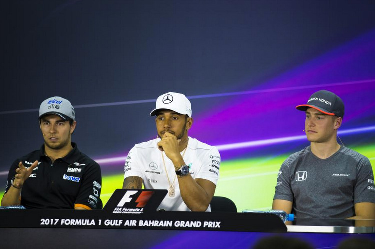 Lewis Hamilton (Mercedes), Sergio Perez (Force India) and Stoffel Vandoorne(McLaren)