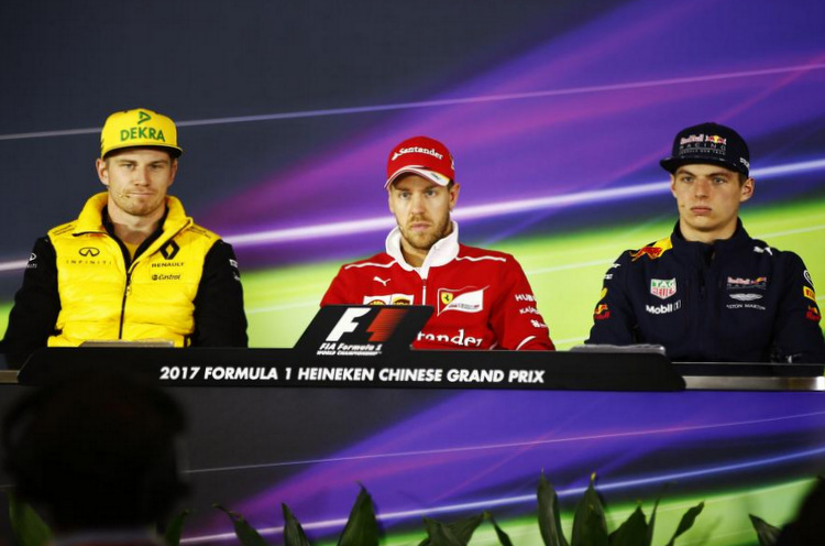 FIA hosted drivers press conference on the eve of the Chinese Grand Prix, Round 2 of the 2017 Formula 1 World Championship, at Shanghai International Circuit featuring: Sebastian Vettel (Ferrari), Max Verstappen (Red Bull Racing) and Nico Hulkenberg (Renault).
