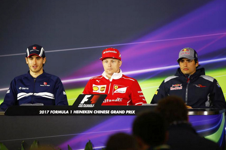 FIA hosted drivers press conference on the eve of the Chinese Grand Prix weekend, Round 2 of the 2017 Formula 1 World Championship, at Shanghai International Circuit featuring: Antonio Giovinazzi (Sauber), Kimi Raikkonen (Ferrari) and Carlos Sainz (Toro Rosso).