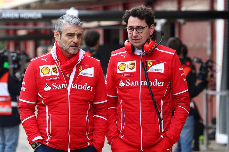28.02.2017 - Maurizio Arrivabene (ITA) Ferrari Team Principal and Mattia Binotto (ITA) Chief Technical Officer, Scuderia Ferrari