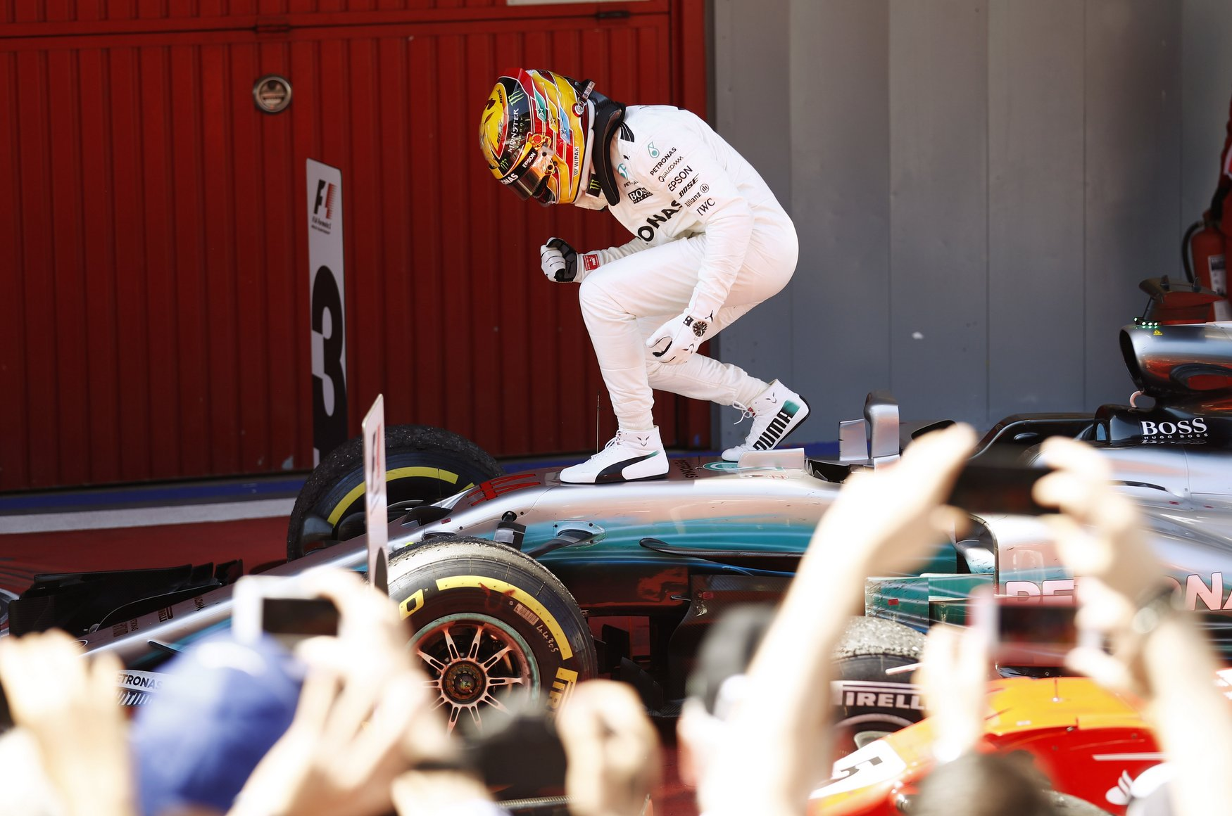 Circuit de Catalunya, Barcelona, Spain. Sunday 14 May 2017. Lewis Hamilton, Mercedes F1 W08 EQ Power+, celebrates after he climbs from his car after winning the race. World Copyright: Glenn Dunbar/LAT Images ref: Digital Image _31I6220