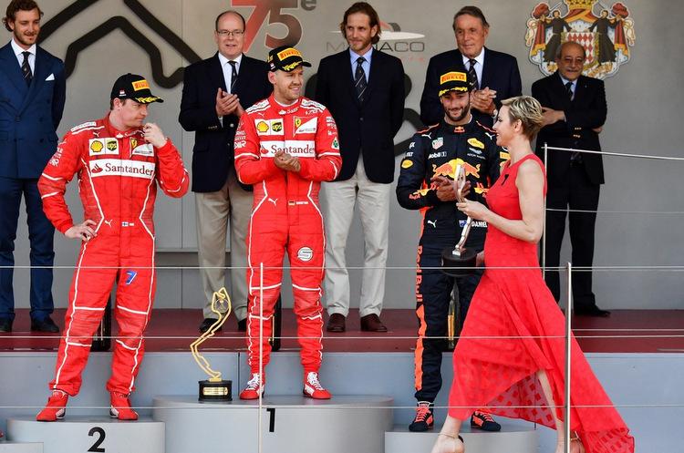 podium, kimi raikkonen, sebastian vettel, daniel ricciardo