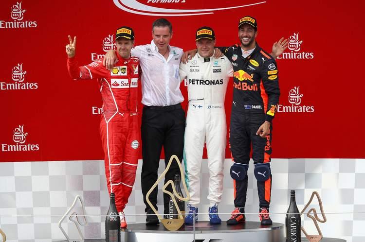 Vettel, ricciardo, Bottas, podium