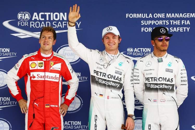 Nico Rosberg, Sebastian Vettel, Lewis Hamilton