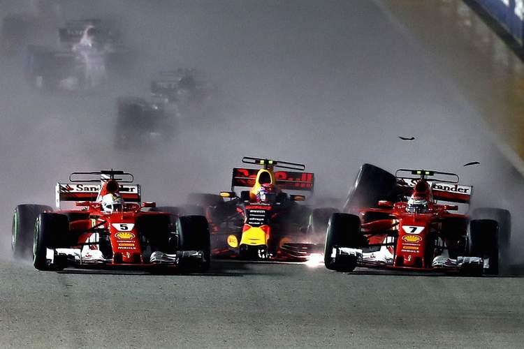 Kimi raikkonen, Sebastian Vettel, Max Verstappen, crash, collide, collision