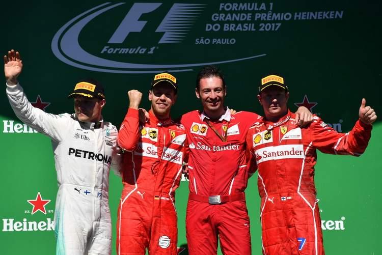 Sebastian Vettel, Kimi Raikkonen, Valtteri Bottas, podium