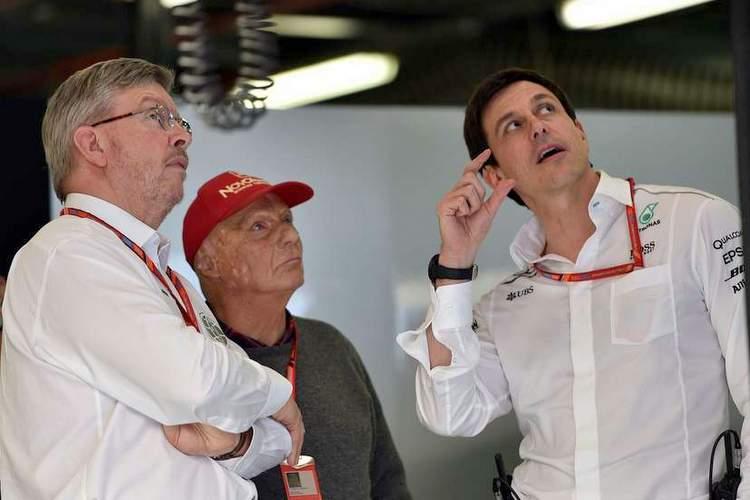 Toto Wolff, Ross Brawn, Niki Lauda