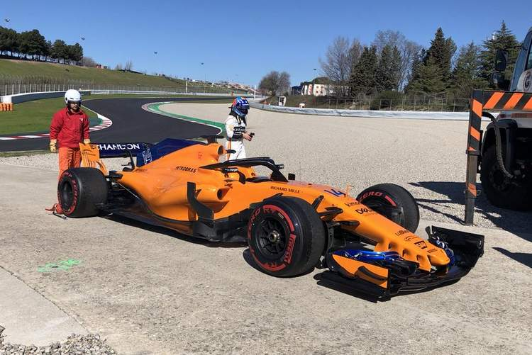 alonso, test, barcelona, stop, problem