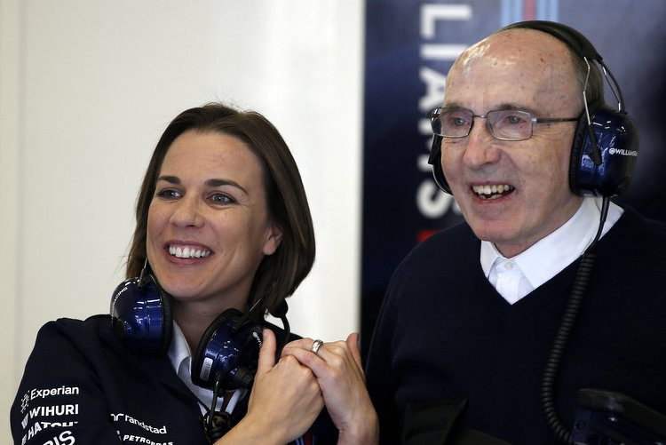 Red Bull Ring, Spielberg, Austria. Saturday 21 June 2014. Claire Williams, Deputy Team Principal, Williams F1, with Sir Frank Williams, Team Principal, Williams F1. World Copyright: Glenn Dunbar/LAT Photographic. ref: Digital Image _89P6501 -------------------- Glenn Dunbar / Williams 2014 FIA Formula One World Championship Austrian Grand Prix 21 June 2014 ©2014 Glenn Dunbar / Williams all rights reserved
