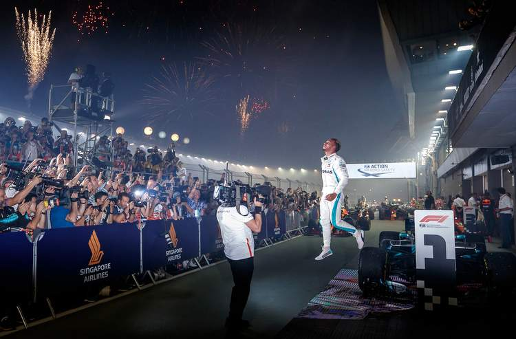 Mercedes Driver Lewis Hamilton Powered To A Well Controlled And Dominant Victory At The Singapore Grand Prix Extending His Championship Points Lead To