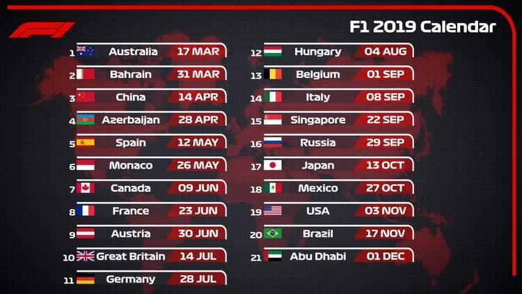 FORMULA 1 - TEMPORADA 2019/F2 Series 2019-Formula-1-World-Championship-calendar