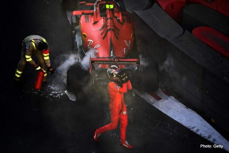 crash shunt leclerc baku qualifying photo