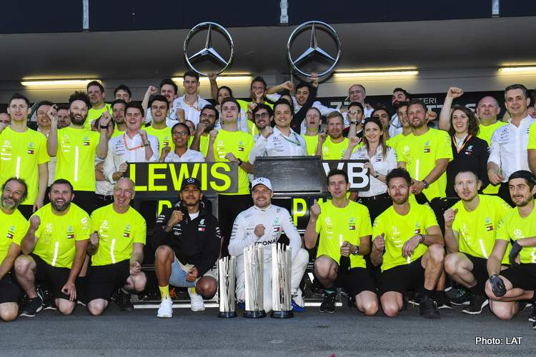 Mercedes winners celebrate baku 2019