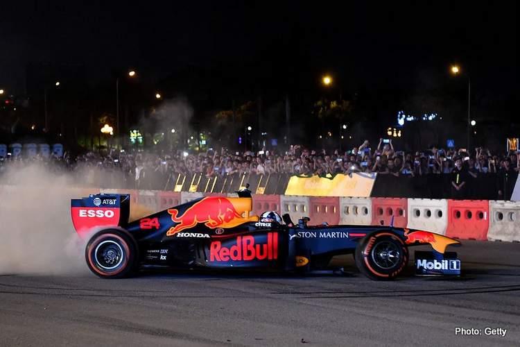 Red Bull burn rubber in Hanoi