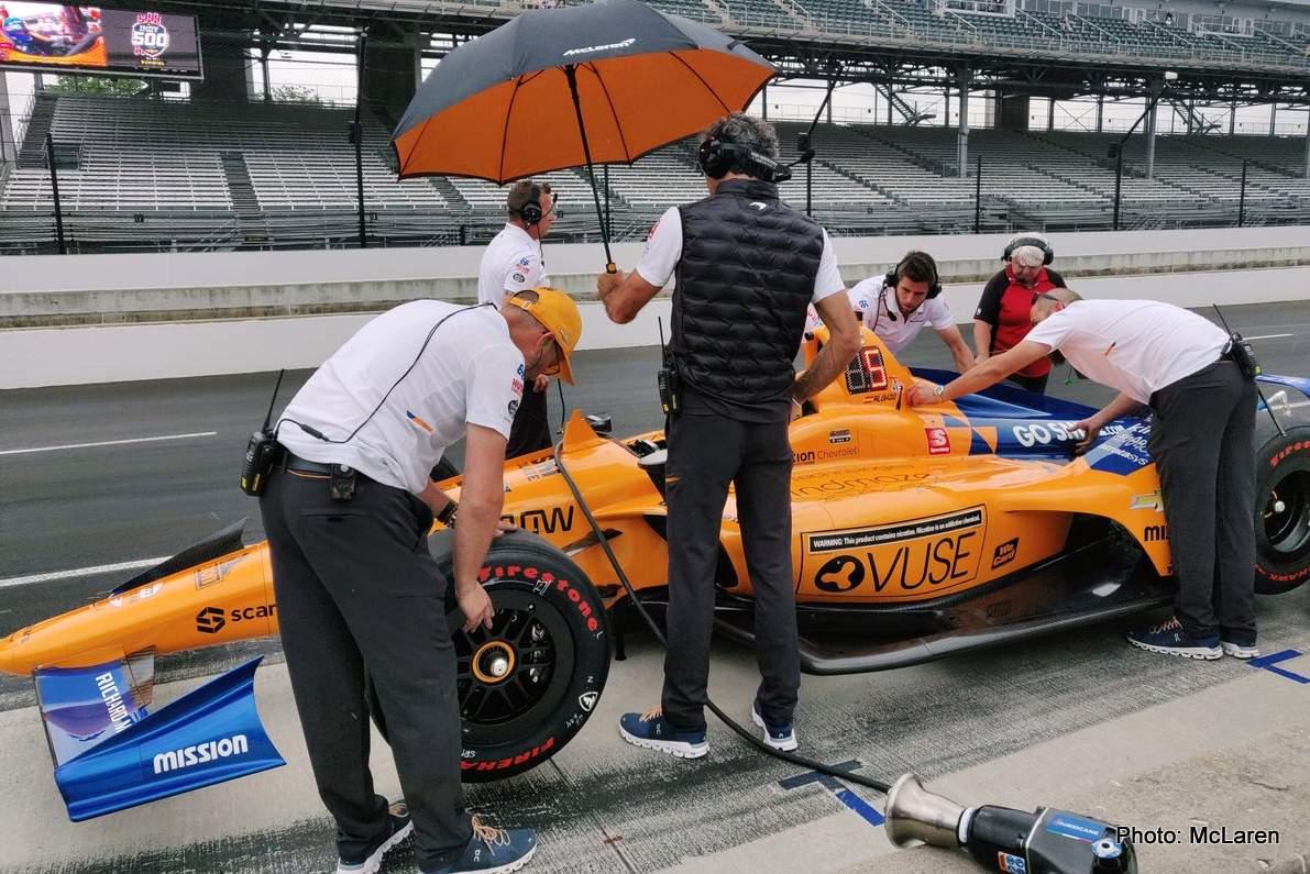Rain spoils Alonso and McLaren Indy 500 dream