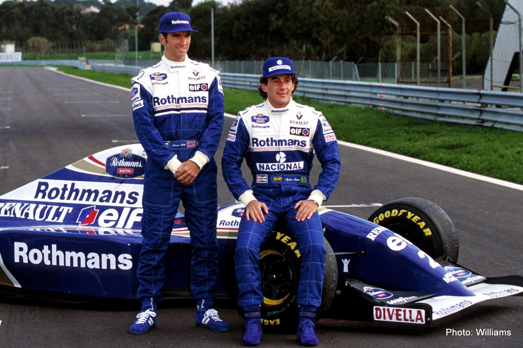 New Williams team mates Damon Hill (GBR) (left) and Ayrton Senna (BRA) were on hand to test the FW16 for the first time.Formula One Testing, Estoril, Portugal, 18-20 January 1994.