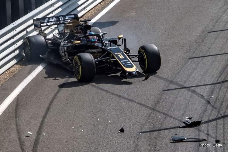 grosjean spin crash