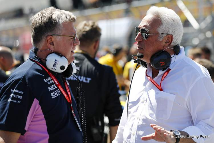 Otmar Szafnauer, Team Principal and CEO, Racing Point, on the grid with Lawrence Stroll