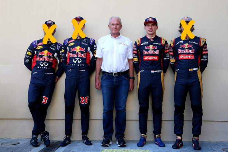 ABU DHABI, UNITED ARAB EMIRATES - NOVEMBER 29: Daniel Ricciardo of Australia and Infiniti Red Bull Racing, Daniil Kvyat of Russia and Infiniti Red Bull Racing, Max Verstappen of Netherlands and Scuderia Toro Rosso and Carlos Sainz of Spain and Scuderia Toro Rosso pose with Infiniti Red Bull Racing Team Consultant Dr Helmut Marko in the paddock before the Abu Dhabi Formula One Grand Prix at Yas Marina Circuit on November 29, 2015 in Abu Dhabi, United Arab Emirates. (Photo by Mark Thompson/Getty Images) // Getty Images/Red Bull Content Pool // P-20151129-00309 // Usage for editorial use only // Please go to www.redbullcontentpool.com for further information. //