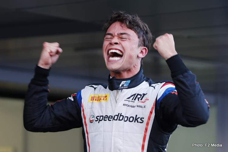 SOCHI AUTODROM, RUSSIAN FEDERATION - SEPTEMBER 28: Nyck De Vries (NLD, ART GRAND PRIX), celebrates winning the drivers' title during the Sochi at Sochi Autodrom on September 28, 2019 in Sochi Autodrom, Russian Federation. (Photo by Carl Bingham / LAT Images / FIA F2 Championship)