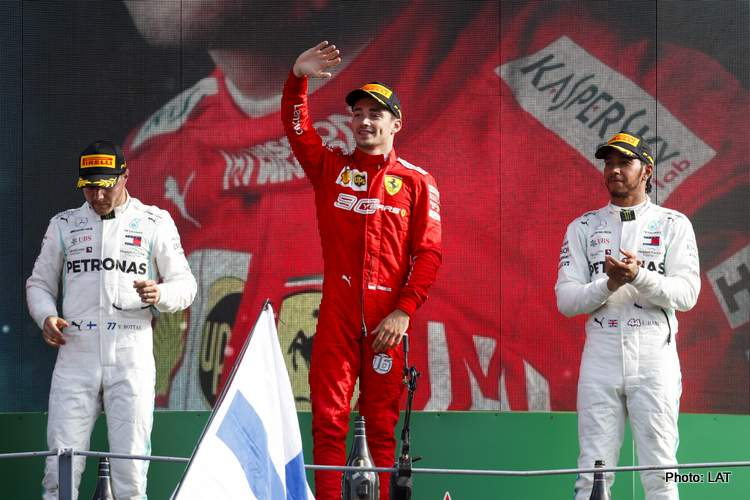 AUTODROMO NAZIONALE MONZA, ITALY - SEPTEMBER 08: Valtteri Bottas, Mercedes AMG W10, Race Winner Charles Leclerc, Ferrari and Lewis Hamilton, Mercedes AMG F1 on the podium during the Italian GP at Autodromo Nazionale Monza on September 08, 2019 in Autodromo Nazionale Monza, Italy. (Photo by Joe Portlock / LAT Images)