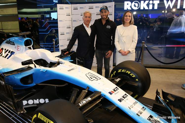 Sylvan Adams, President of Roy Nissany F1 Management with Roy Nissany, Offical Williams Racing Test Driver and Claire Williams, Williams Racing Deputy Team Principal.<br /> Roy Nissany Official Test Driver Announcement, Wednesday 15th January 2020. Tel Aviv, Israel