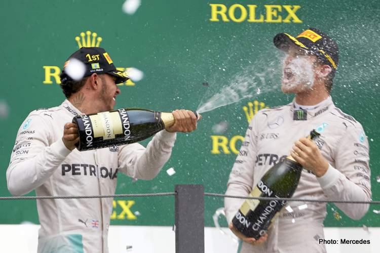 Nico Rosberg Lewis Hamilton F1 podium