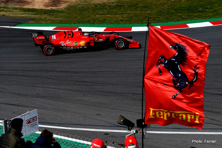 Ferrari car and flag