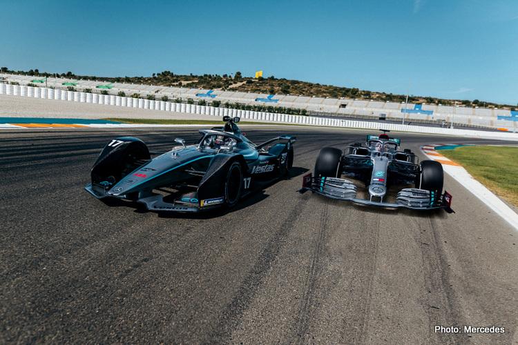 Mercedes Formula 1 and Formula E cars