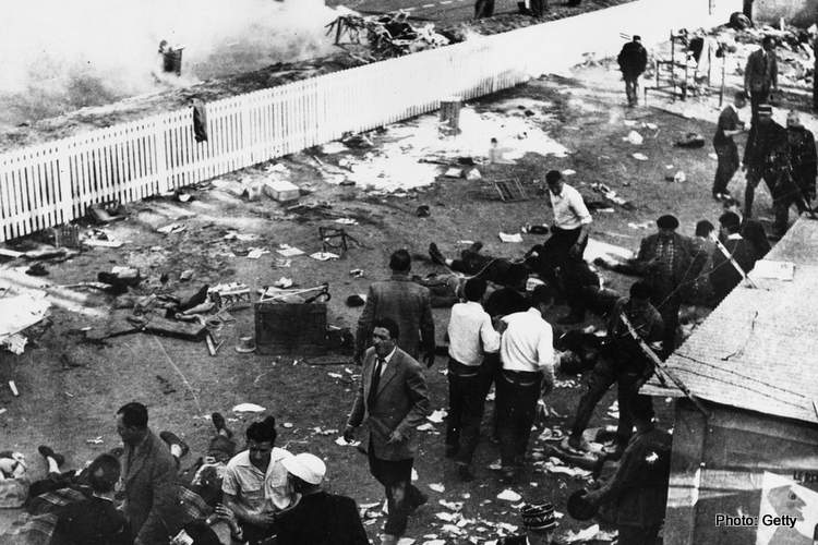 12th June 1955: The wreckage at the Le Mans racecourse the day after Pierre Levegh's Mercedes crashed through the barrier into the crowds, killing 80 people and injuring over a hundred. (Photo by Keystone/Getty Images)