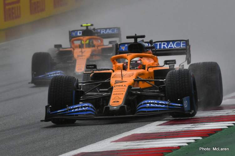 Carlos Sainz, McLaren MCL35, leads Lando Norris, McLaren MCL35