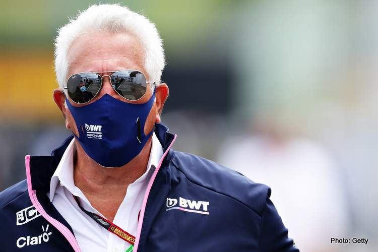 BUDAPEST, HUNGARY - JULY 19: Owner of Racing Point Lawrence Stroll looks on in the Paddock before the Formula One Grand Prix of Hungary at Hungaroring on July 19, 2020 in Budapest, Hungary. (Photo by Peter Fox/Getty Images)