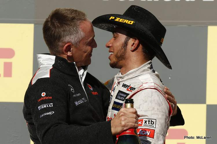 Martin Whitmarsh and Lewis Hamilton at United States GP