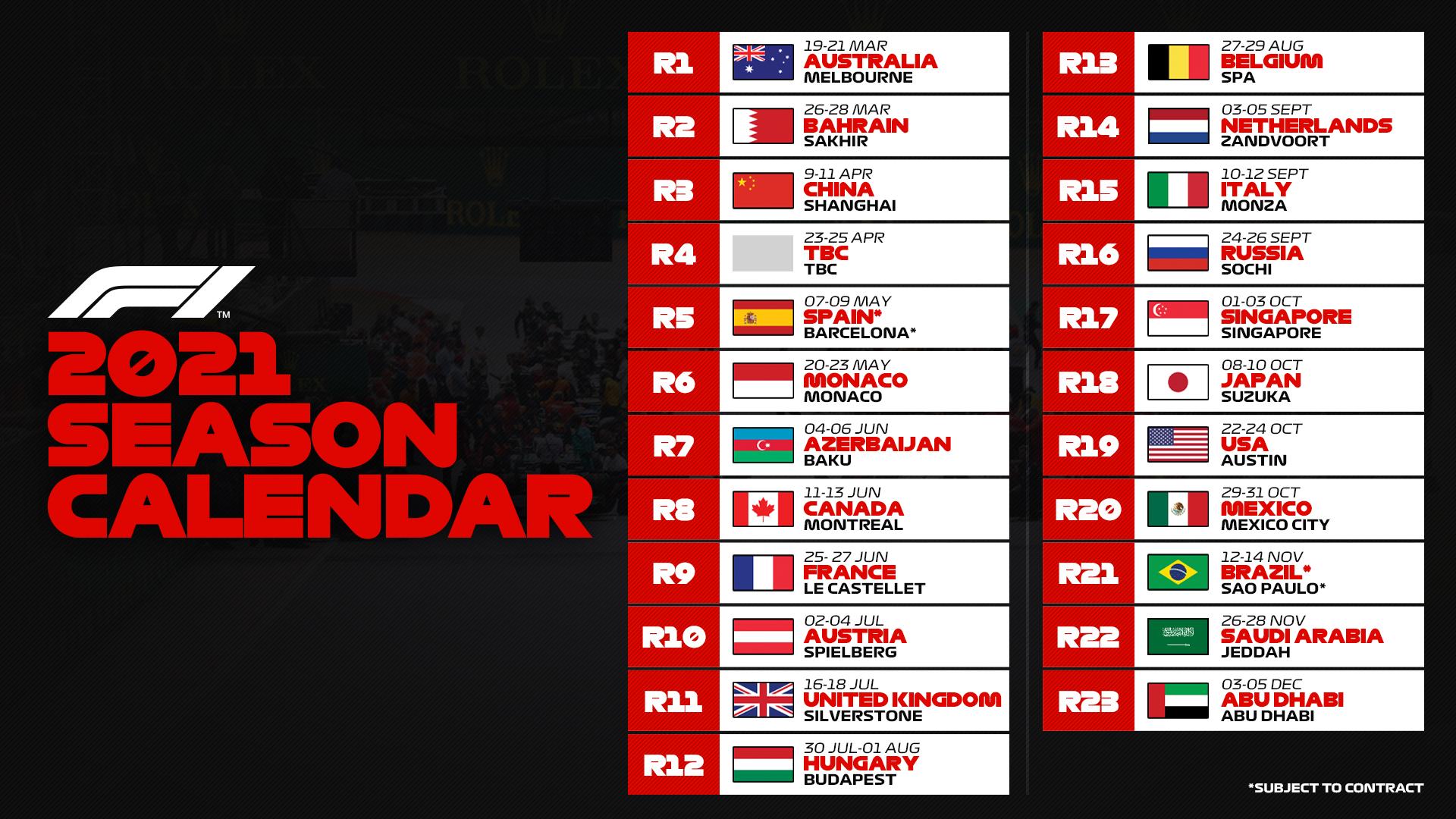 F1 releases provisional 2021 calendar | GRAND PRIX 247