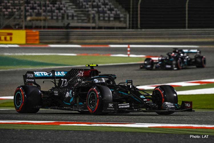 Valtteri Bottas and George Russell, Mercedes, 2020 Sakhir Grand Prix, Saturday