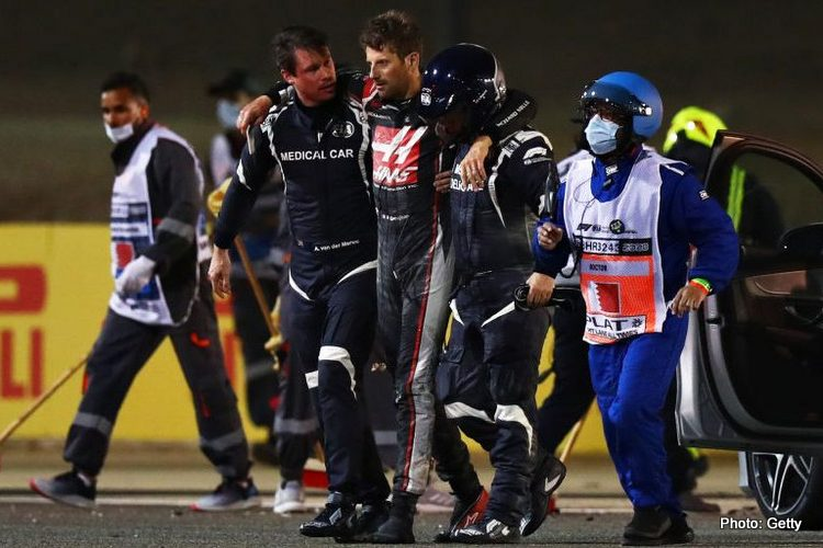 Romain Grosjean with doctors